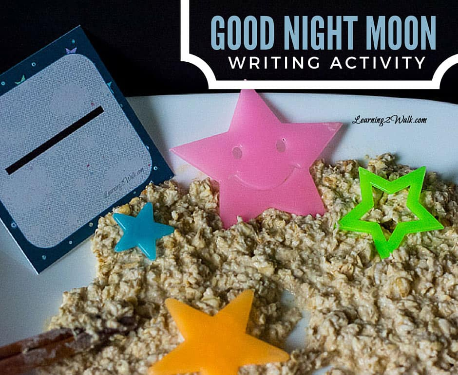 This good night moon writing activity was so fun and I love the fact that both kids were able to enjoy it. This bowl full of mush was a hit!