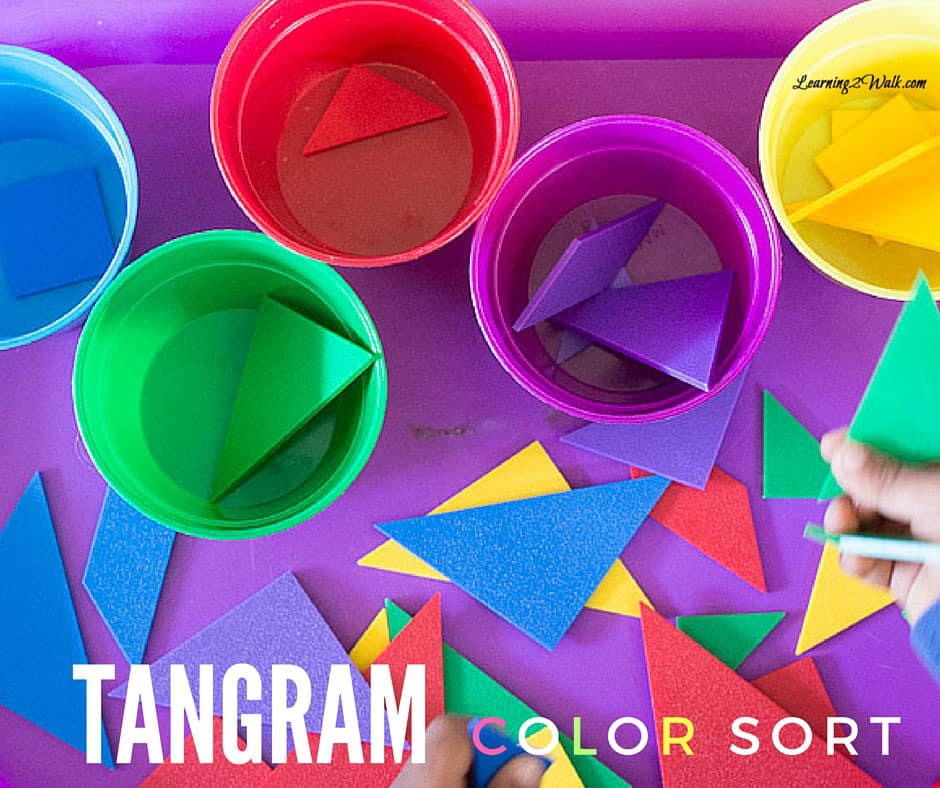I love finding quick hands on activities to help my preschooler learm. This tangram color sort was perfect for my son while we homeschooled his older sister.