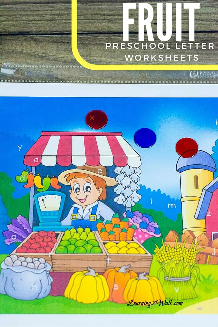 Fruit Preschool Letter Worksheets: Find the Hidden Alphabet