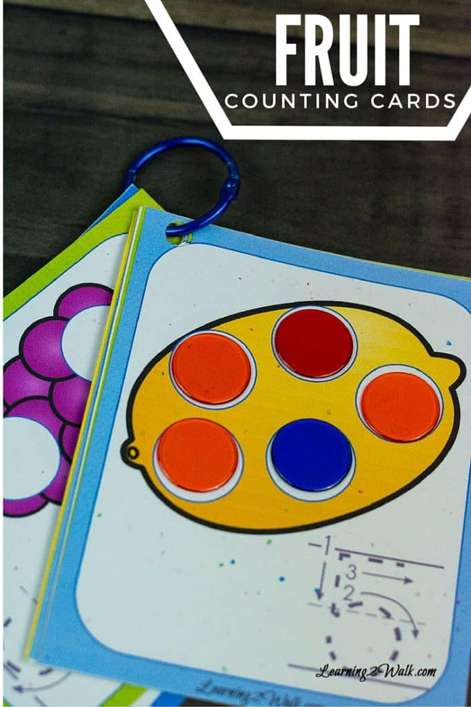 These colorful fruit counting cards on a ring were so helpful with teaching my son how to count.