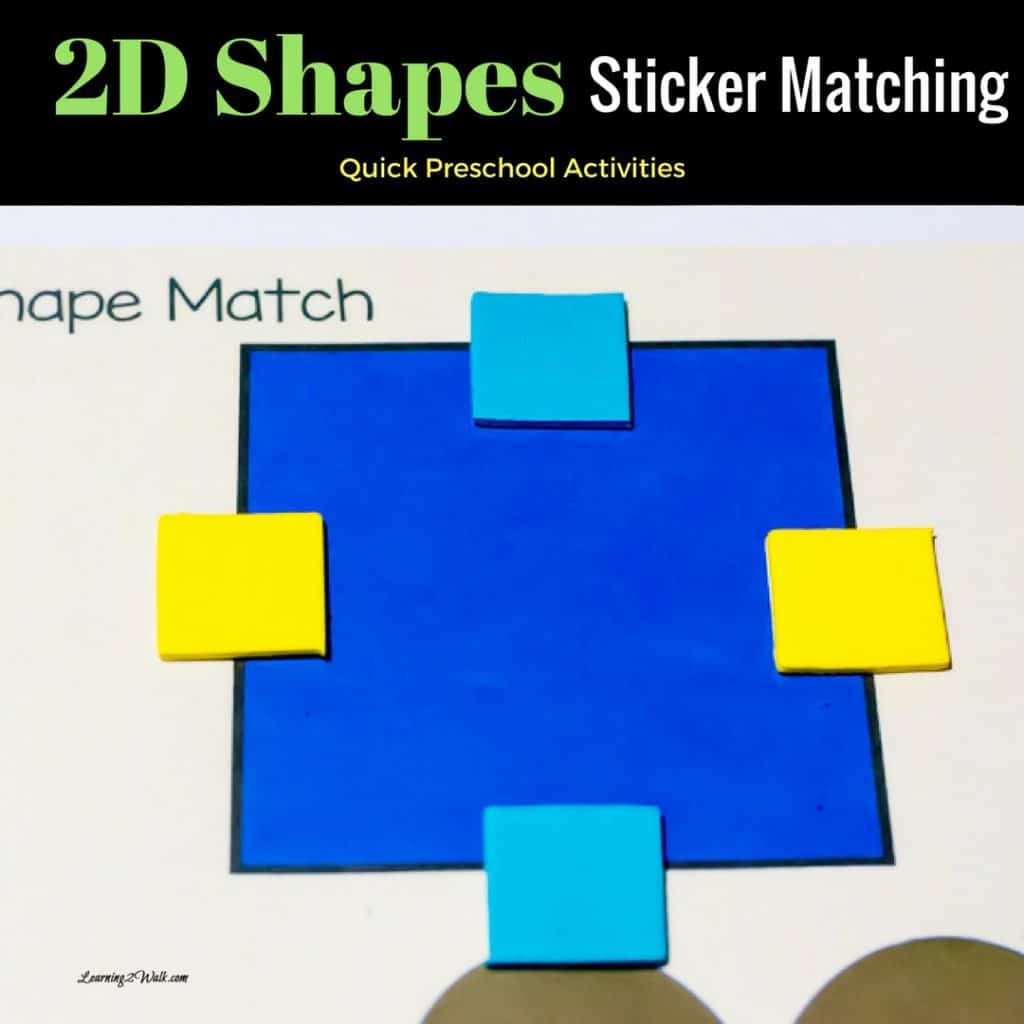 This quick 2d shapes sticker activity for your preschool is perfect for fine motor skills, counting and more