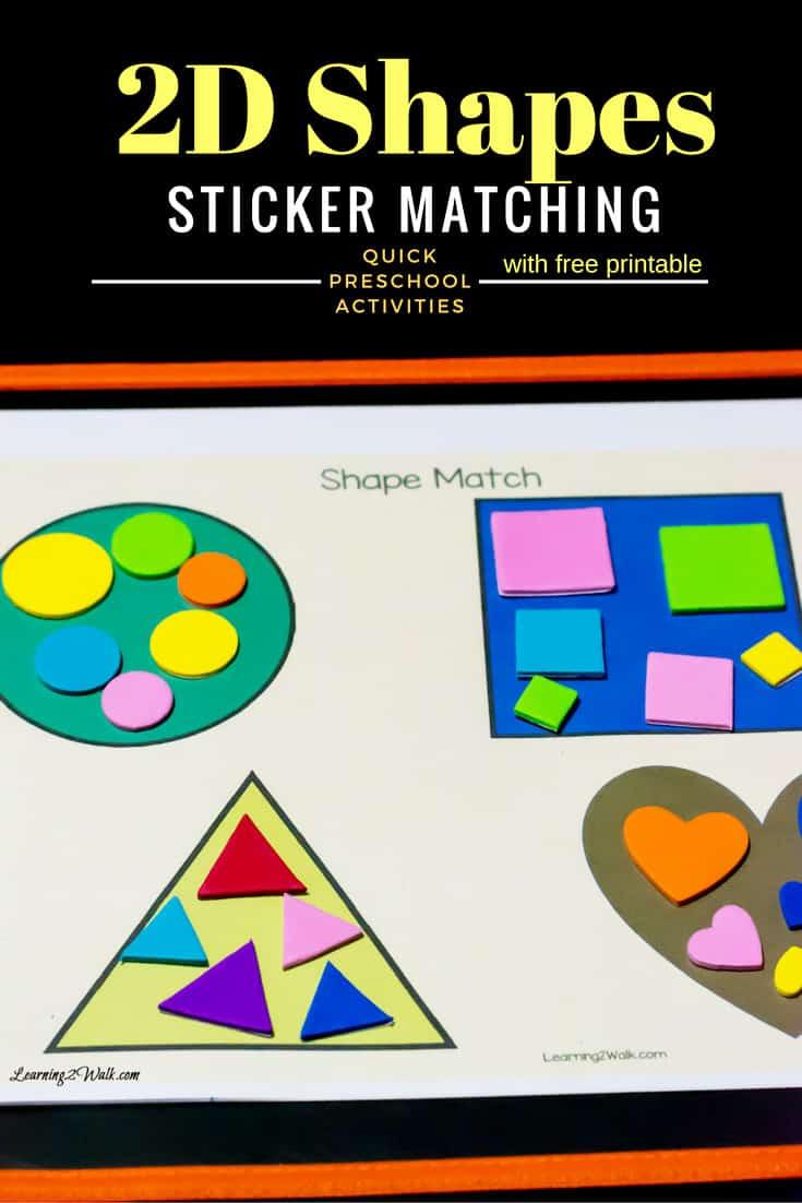 Basic 2D Shapes Sticker Matching
