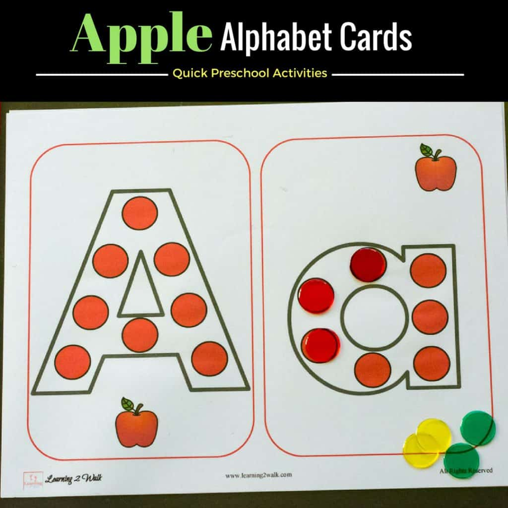 These free printable apple alphabet worksheets are such a quick and easy preschool activity. All you have to do is print and hand your child a few counters and they are building and learning. Can't get any easier than that.