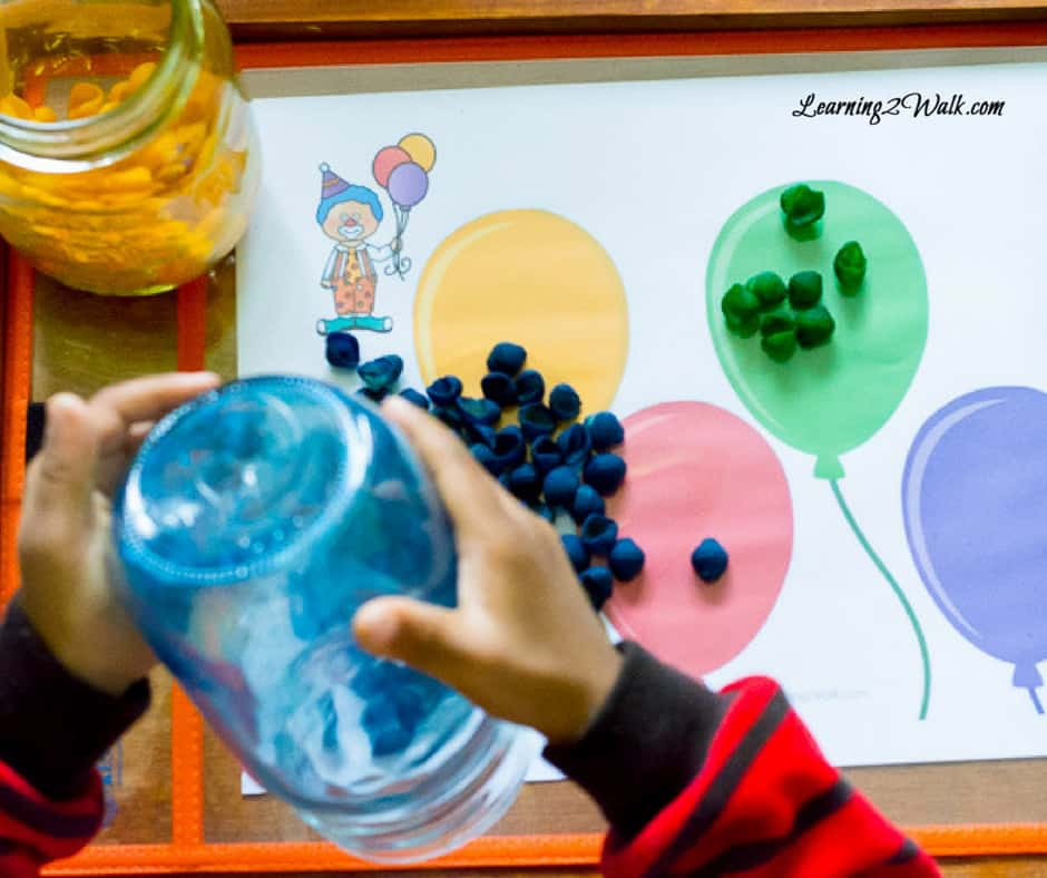 Looking for a fun color sorting activity for your toddler or preschooler? Use this circus color activity!