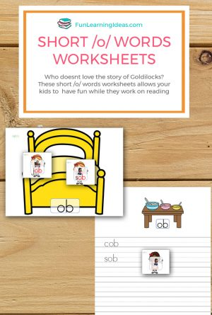 Goldilocks Hands-on Short /o/Words Worksheets