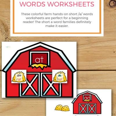 Farm Hands-On Short /A/ Words Worksheets