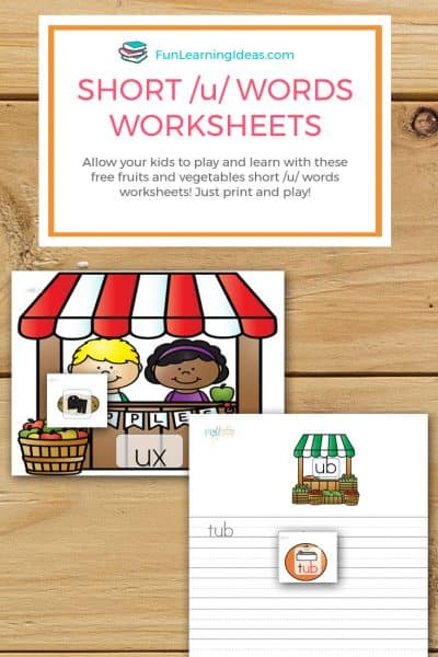 Fruits and Vegetables Short /u/ Words Worksheets