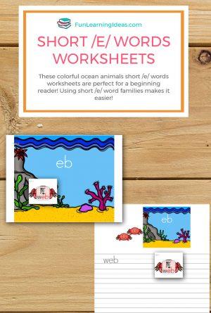 Ocean Animal Short /E/ Words Worksheets