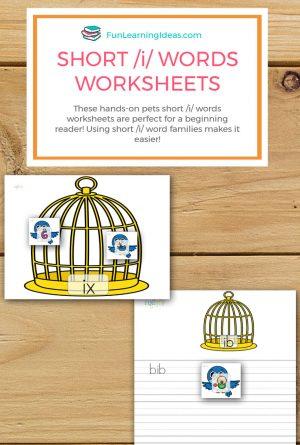 Pets Short /I/ Words Worksheets