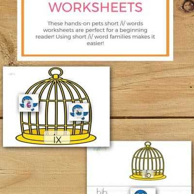 Pets Short /I/ Words Worksheets