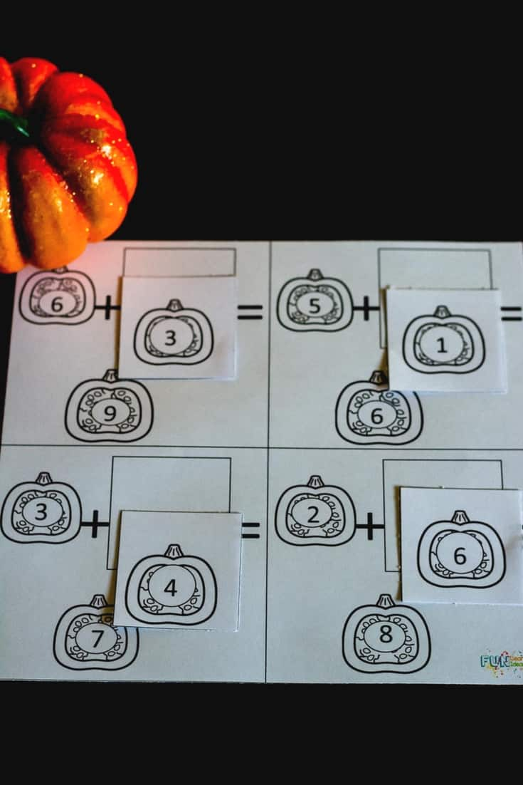 Hands-On Pumpkin Missing Number Addition Puzzles and Sheets