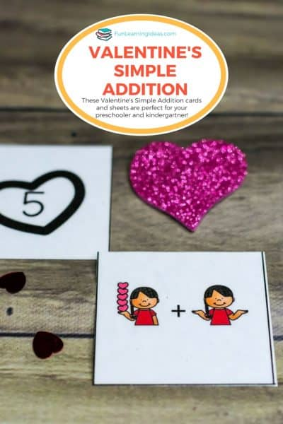 These Valentines simple addition worksheets and cards are perfect for introducing the concept of addition to your kids. Plus they are very easy and quick to prepare!