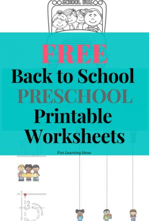 Free Back to School Preschool Printable Worksheets