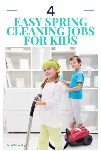 image showing 2 kids while they work on easy spring cleaning jobs for kids