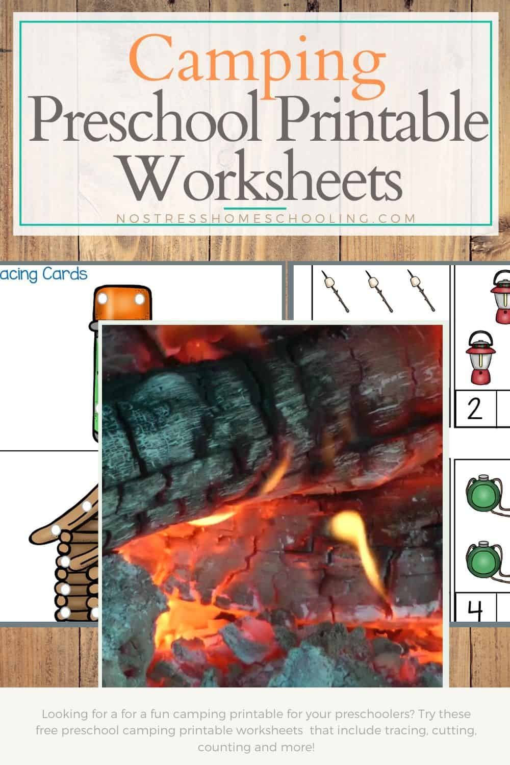 Looking for a for a fun camping printable for your preschoolers? Try these free preschool camping printable worksheets that include tracing, cutting, counting and more!
