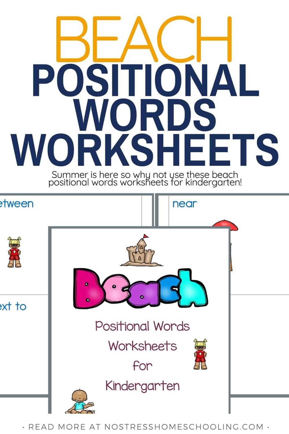 Summer is here so why not use these beach positional words worksheets for kindergarten!