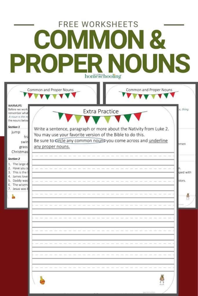 image of 3 pages from the free common and proper worksheets on burgundy background