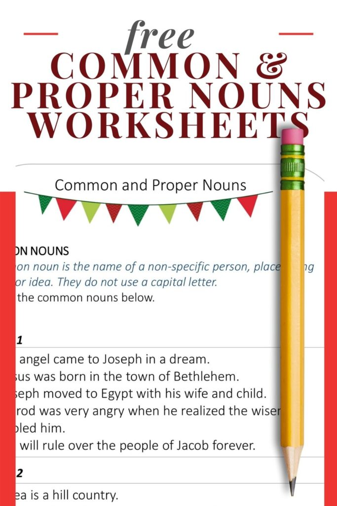 image showing common and proper nouns worksheets on pink background with pencil