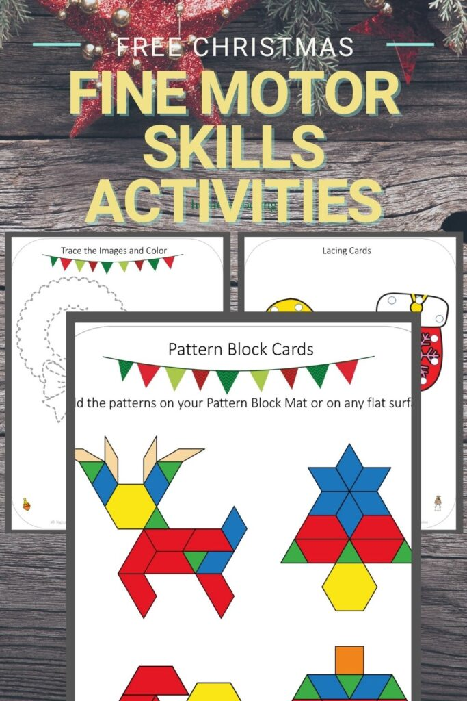 picture of christmas fine motor activities for preschoolers worksheets on wooden background