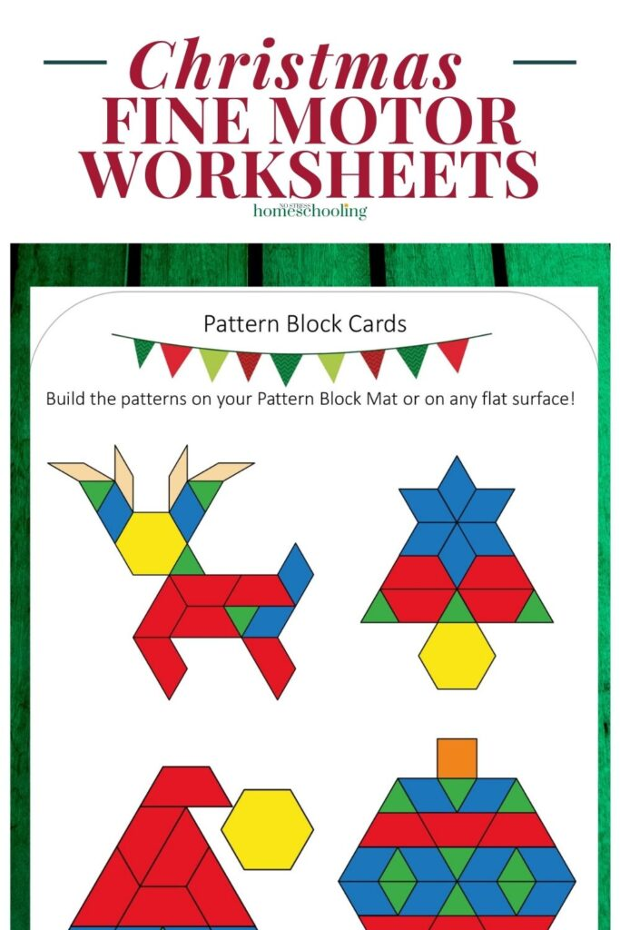 image of christmas fine motr activities for preschoolers on green wood background