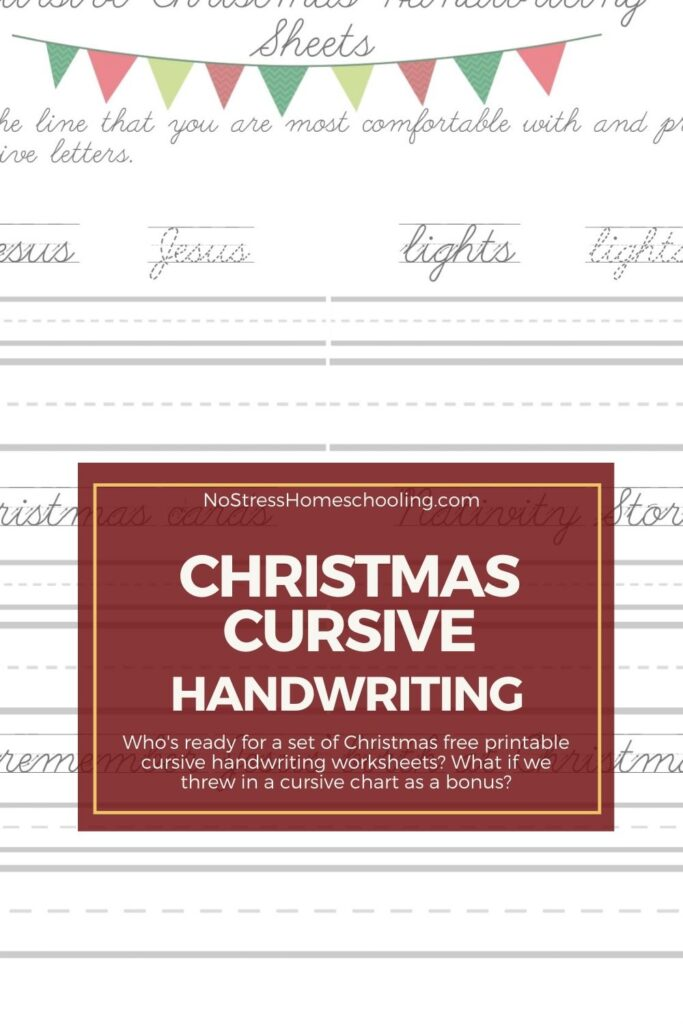 image of Christmas free printable cursive handwriting worksheets with red overlay