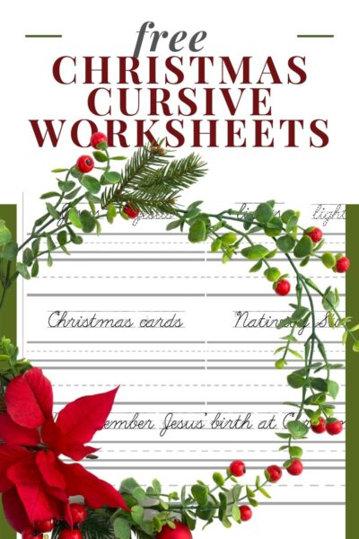 image of Christmas free printable cursive handwriting worksheet with green background