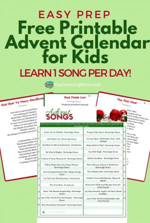 Easy Prep Free Printable Advent Calendar for Kids (1 song per day)