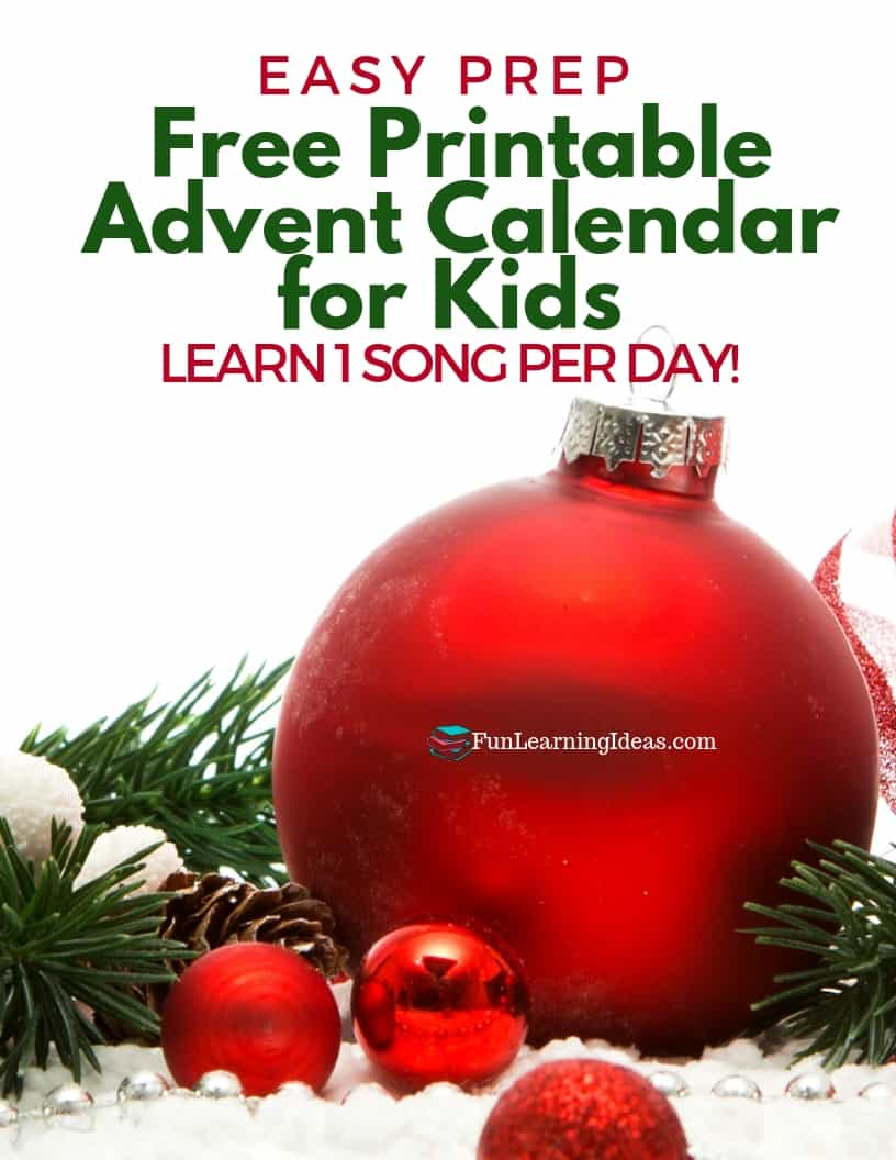 Looking for a meaningful and easy way to celebrate Advent? This free printable advent calendar for kids includes a daily Christmas hymn plus an activity. #freeprintableadventcalendar #kidsadventcalendarideasfreeprintables