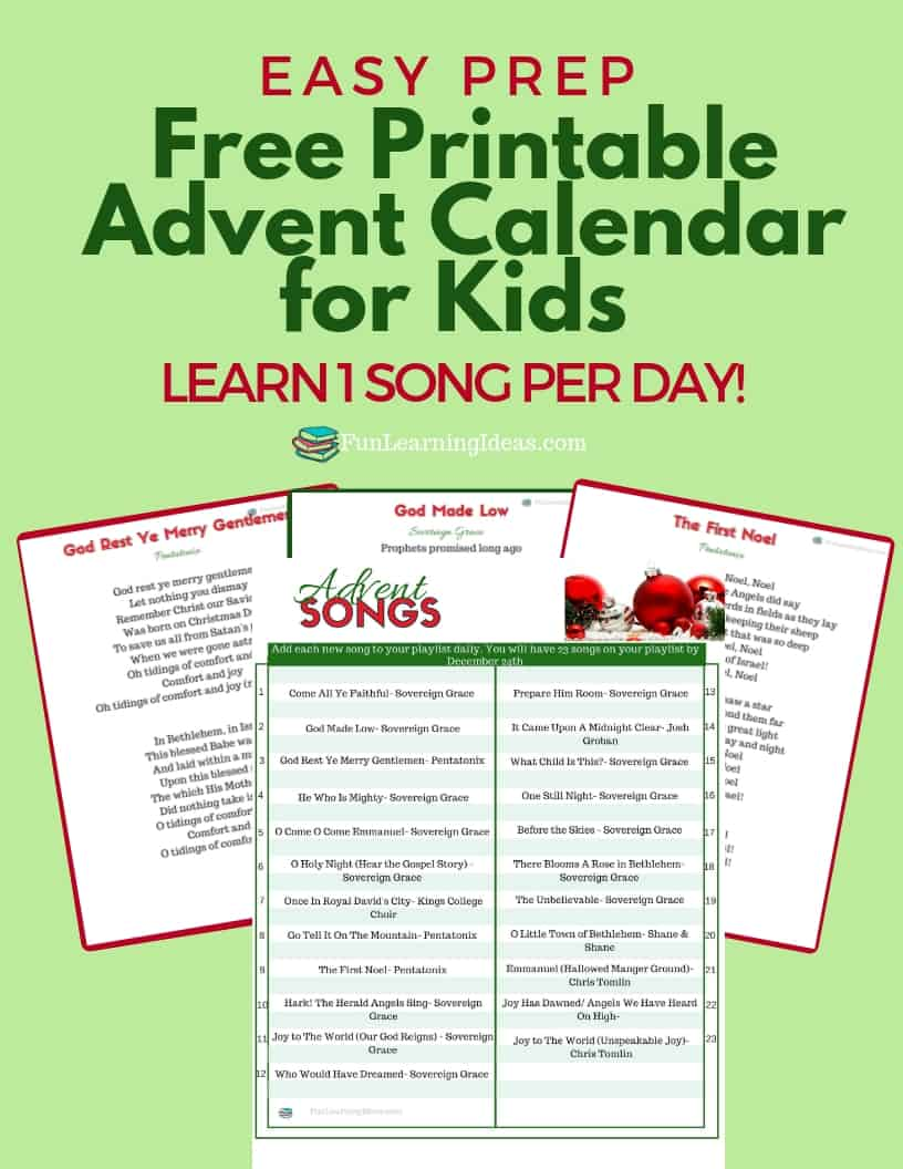 Looking for a meaningful and easy way to celebrate Advent? This free printable advent calendar for kids includes a daily Christmas hymn plus an activity.