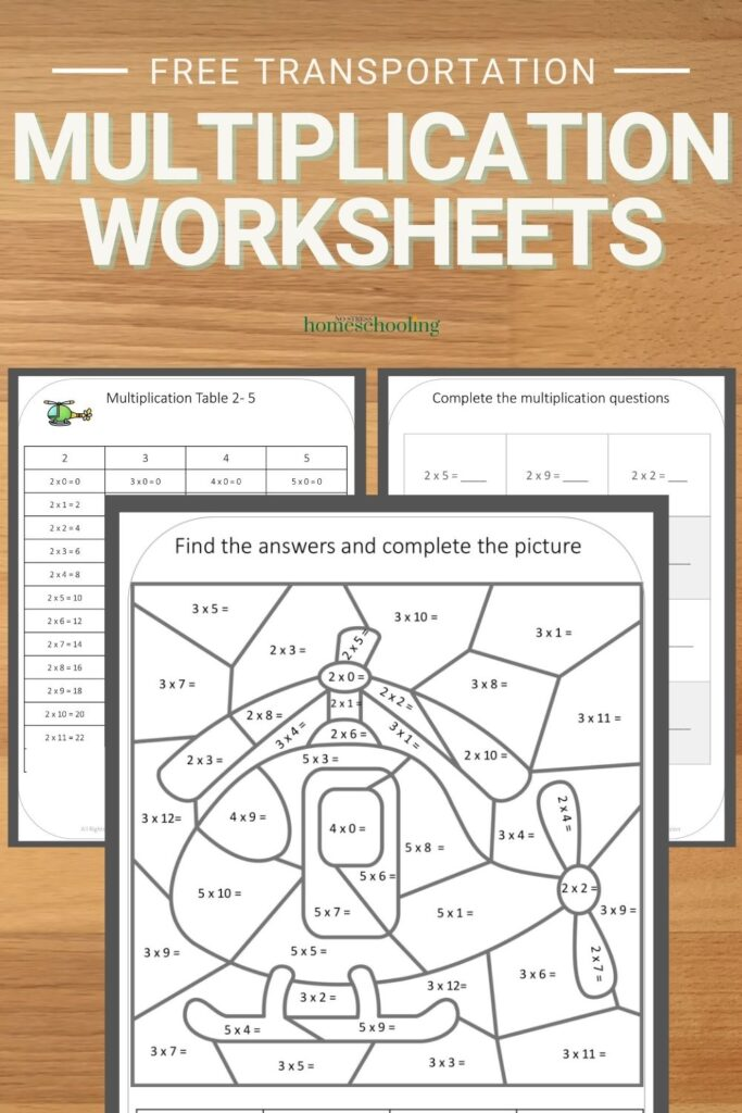 image of  3 pages from the fre emultiplication worksheets printable