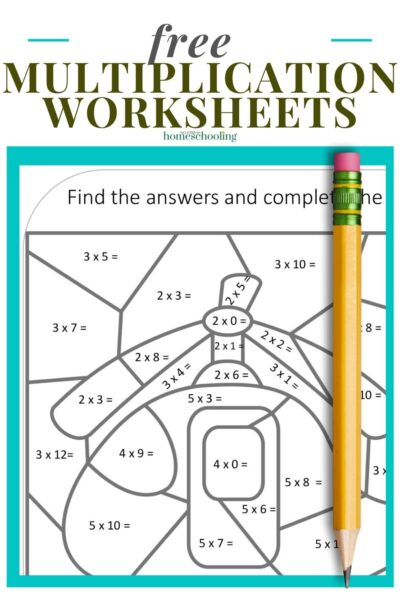 image of free multiplicatino worksheets on teal background