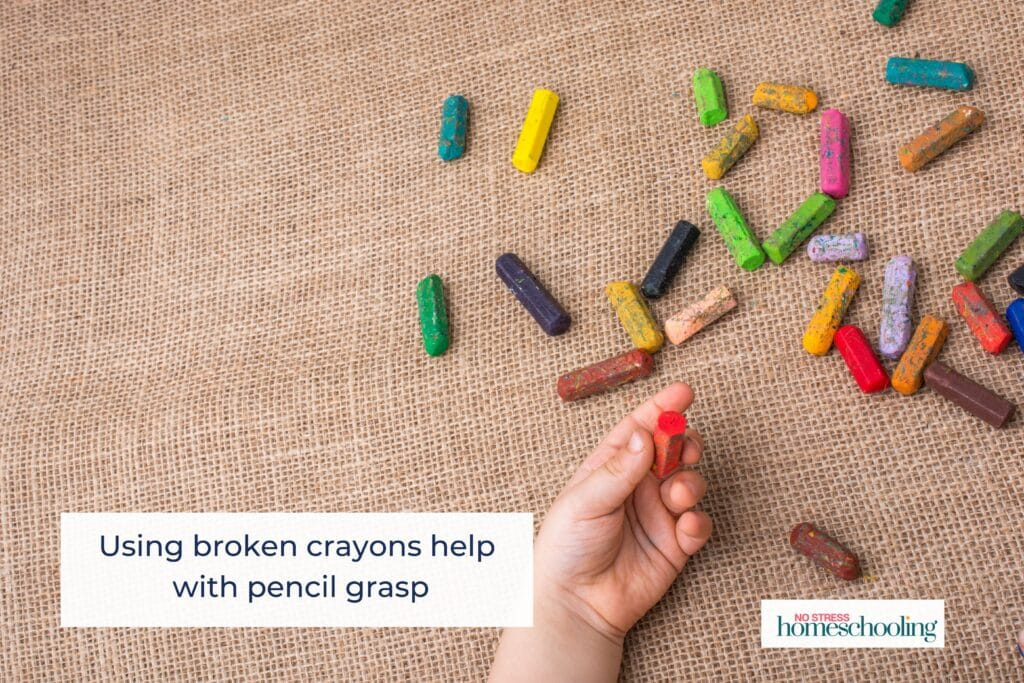 using broken crayons help with pencil grasp development image