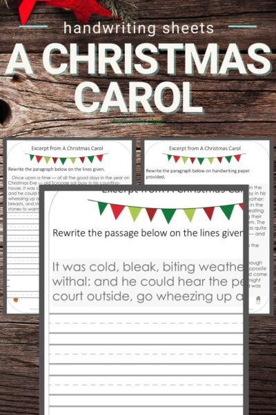 pictures of 3 pages from A Christmas Carol practice handwriting worksheets on wooden backdrop