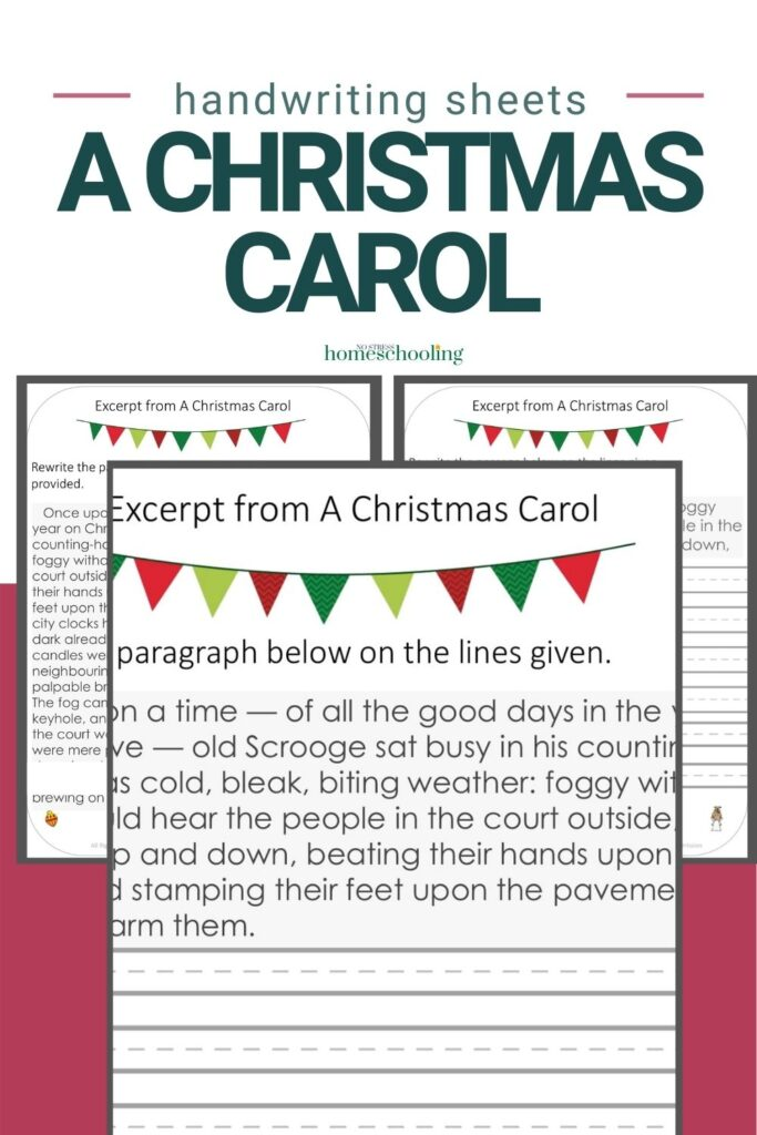 pictures of 3 pages from A Christmas Carol practice handwriting worksheets on burgundy background