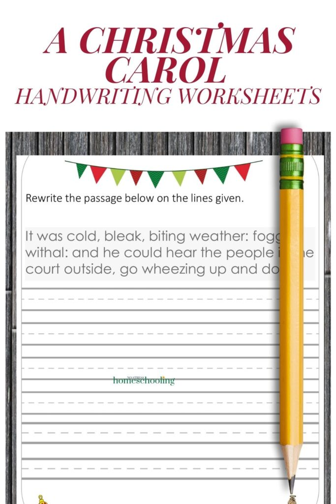 picture of A Christmas Carol practice handwriting worksheets on wooden background
