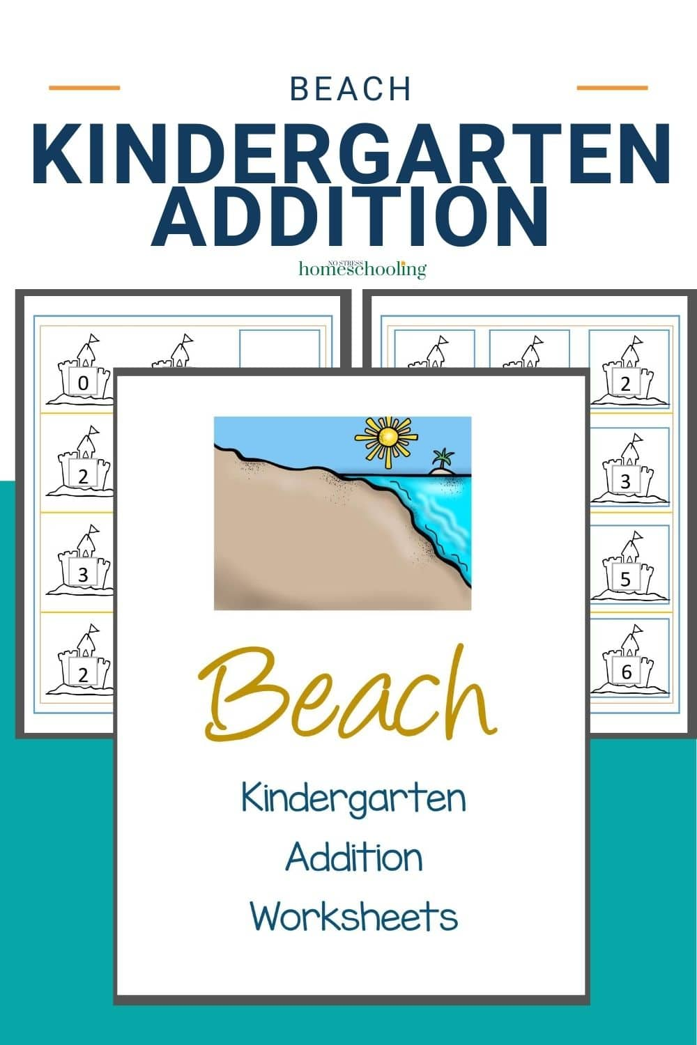 pic showing beach addition worksheets for kindergarten