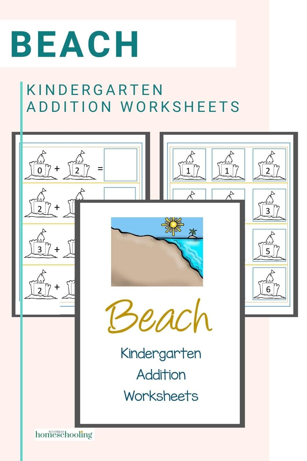 picture of beach addition worksheets for kindergarten