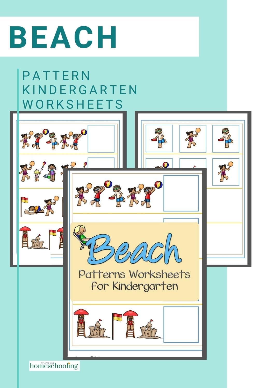 picture of beach patterns worksheets for kindergarten