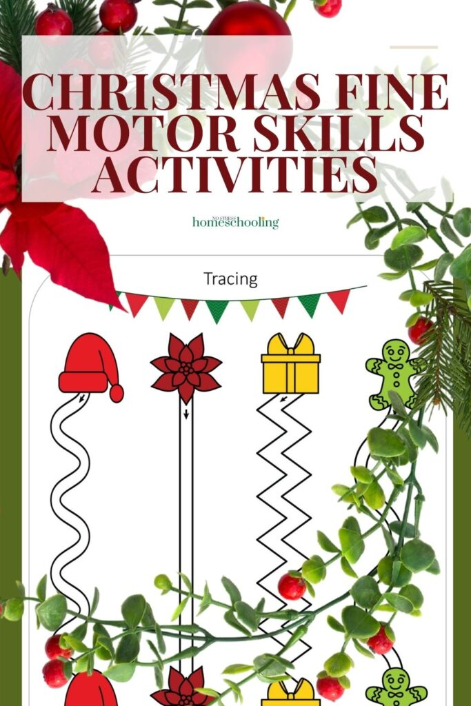 image of 3 christmas fine motor skills activities with wreath overlay