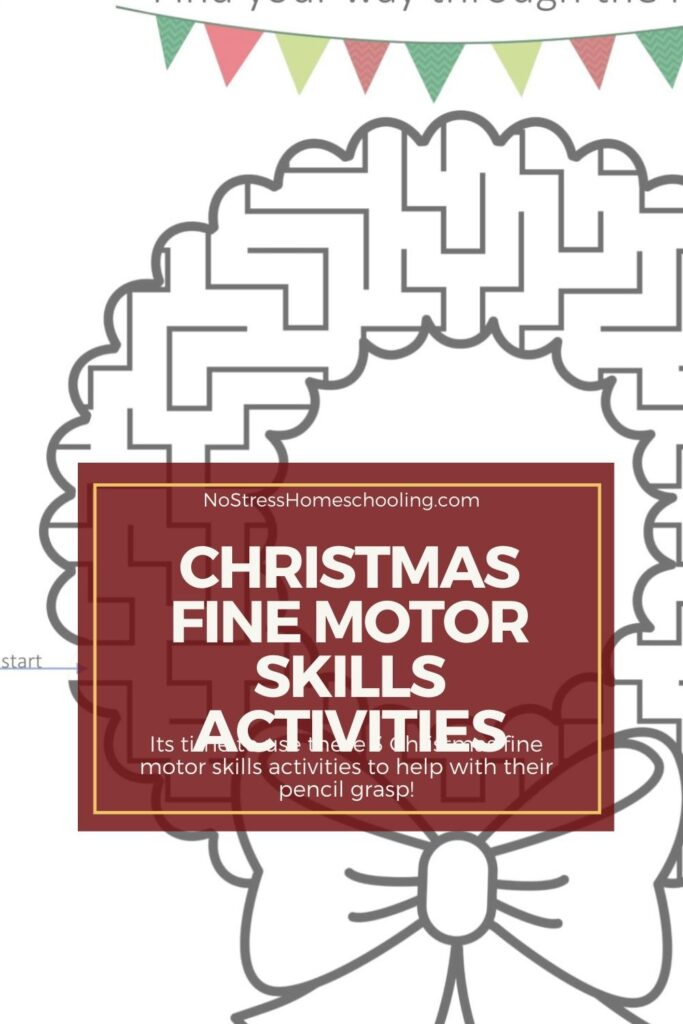 image of 3 christmas fine motor skills activities with burgundy overlay