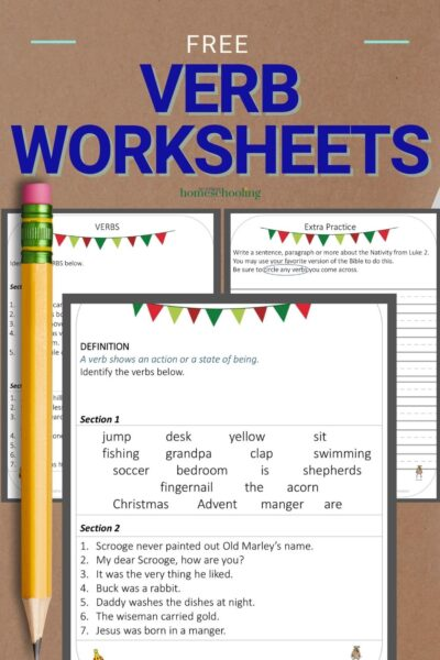 image pf free 3 part verb worksheet on wooden background