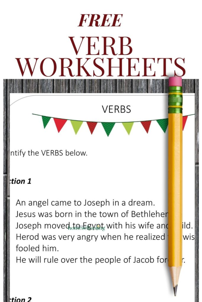 image of 1 sheet from verb worksheets for 1st grade
