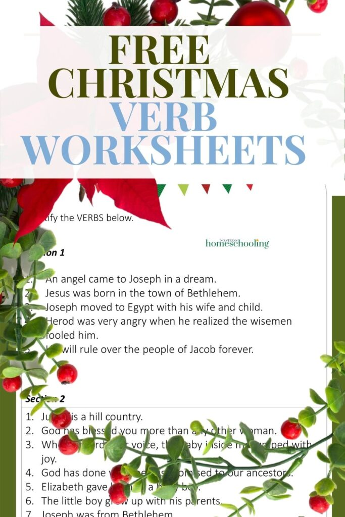image of verbs worksheets with wreath overlay