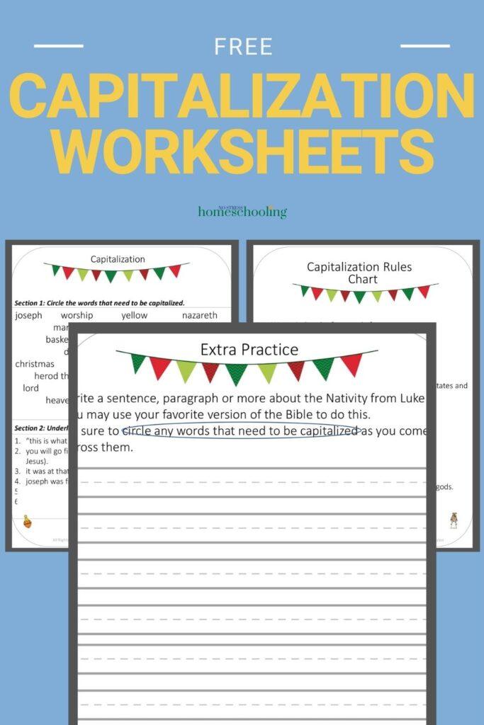 image of 3 capitalization worksheets on blue background
