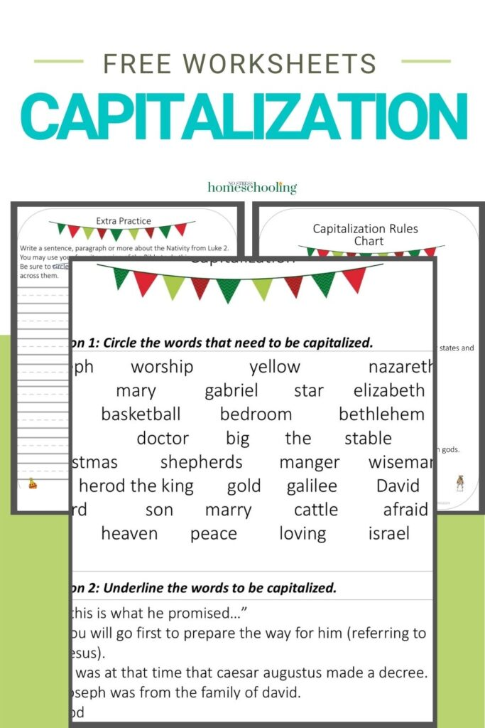 image of 3 sheets from the free capitalization worksheets set on green background