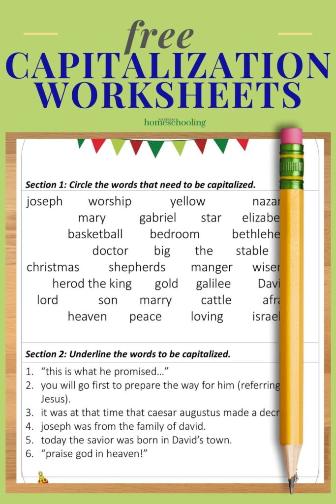 image of free capitalization worksheets on green background
