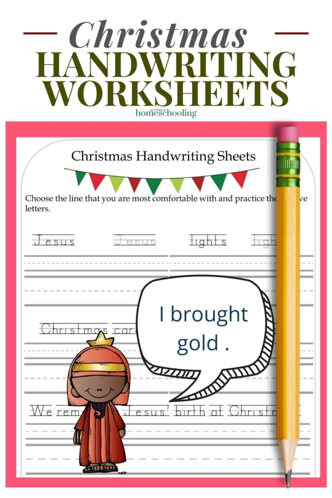 image of free christmas handwriting worksheets with pink background