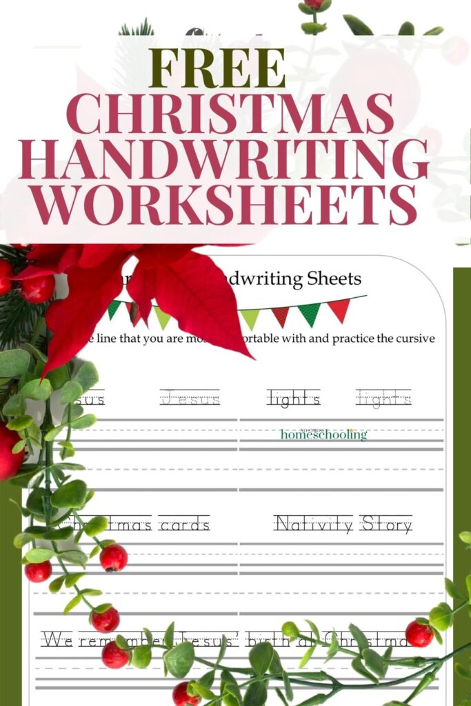 pic of free christmas handwriting worksheets  with wreath overlay