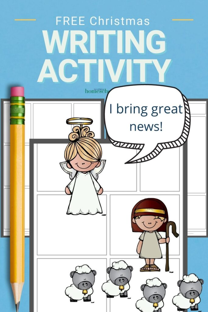 christmas writing activity using comic strip on blue background
