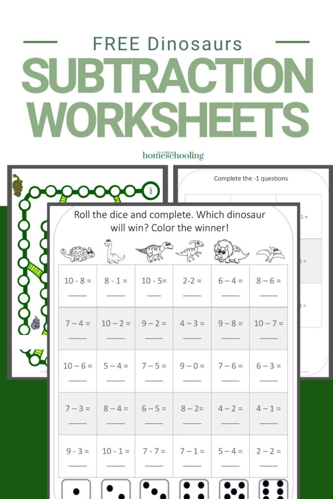 image of 3 pages from the dinosaurs subtraction worksheets for kindergarten